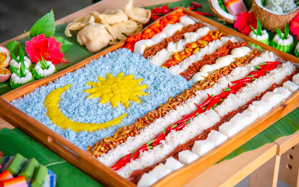 Malaysian Flag Made With Nasi Lemak