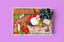 Load image into Gallery viewer, A colourful assortment of artisan cheeses, grapes, strawberries, kiwi, cherry tomatoes, dried apricots, turkey rolls, smoked salmon, nuts, crackers and sliced baguette arranged within a white rectangular box