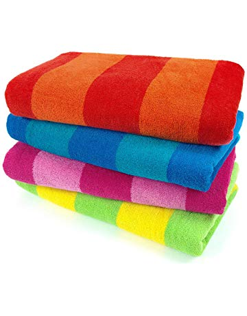 stack of beach towels for rent