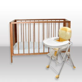 crib and high chair for rental