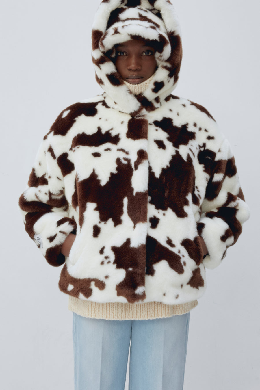 daisy faux fur jacket cow