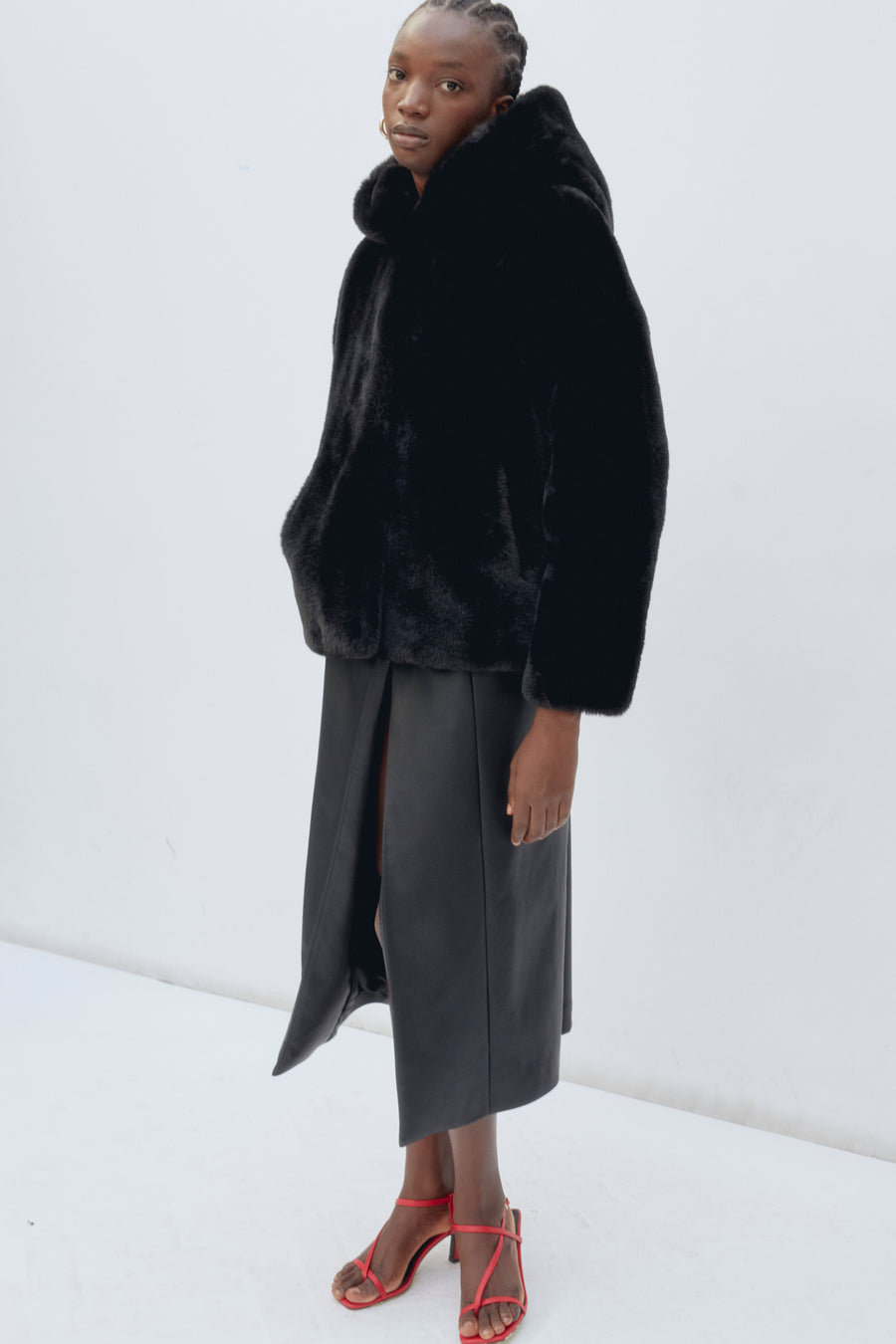 daisy faux fur jacket 'wear & care' black