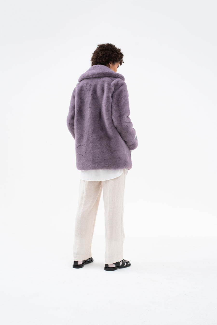 heather faux fur jacket 'wear & care' lavender