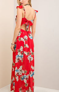 Annabel Red Flora Boho Maxi Dress