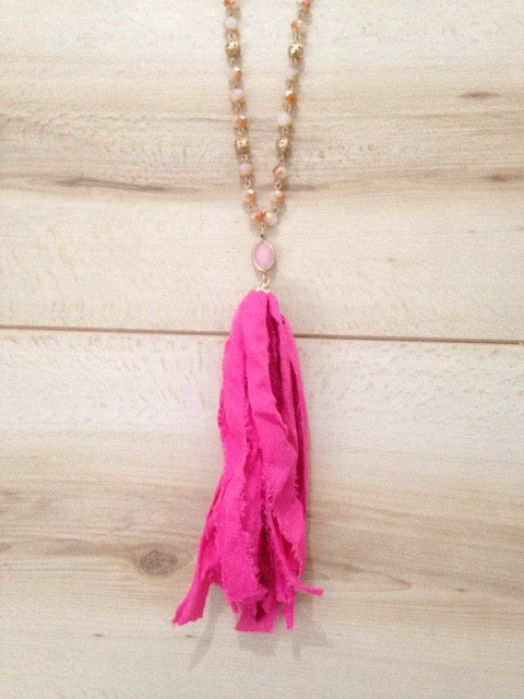 Ansley Fabric Tassel Necklace