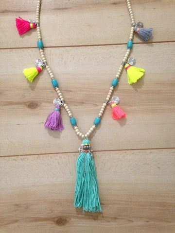 Tinsley Tassels and Wooden Bead Long Necklace
