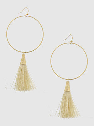 Gracie Gold Hoop Tassel Earrings
