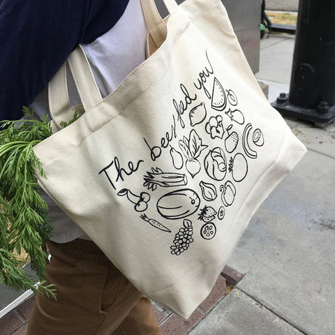 Farmers Market Canvas tote says The Bees Feed You
