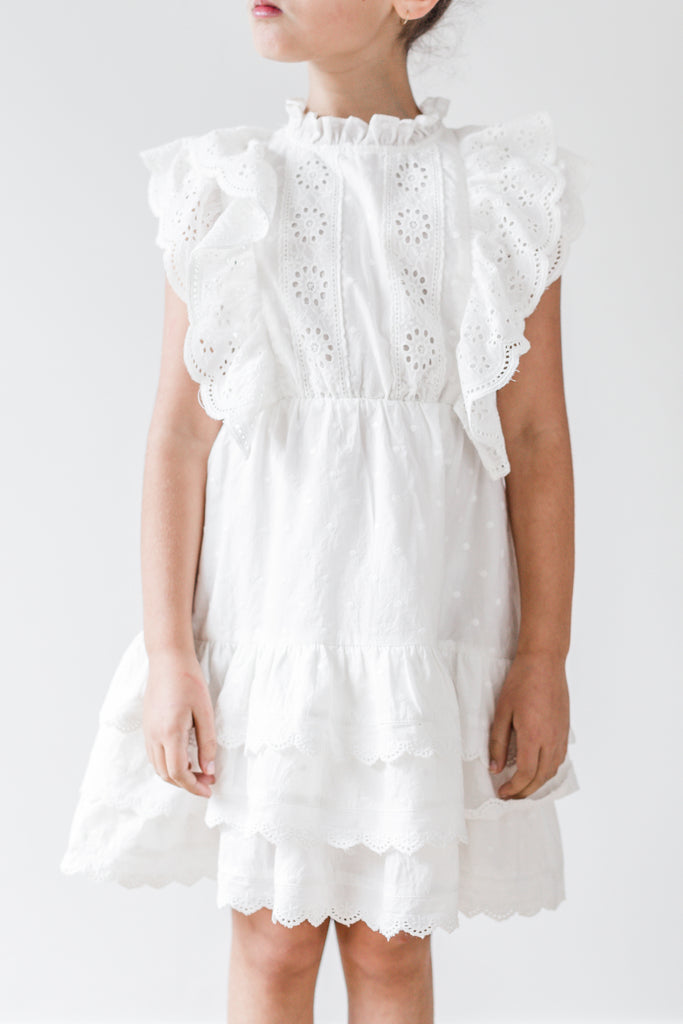 White Ruffle Embroidered Dress - Petite Belle