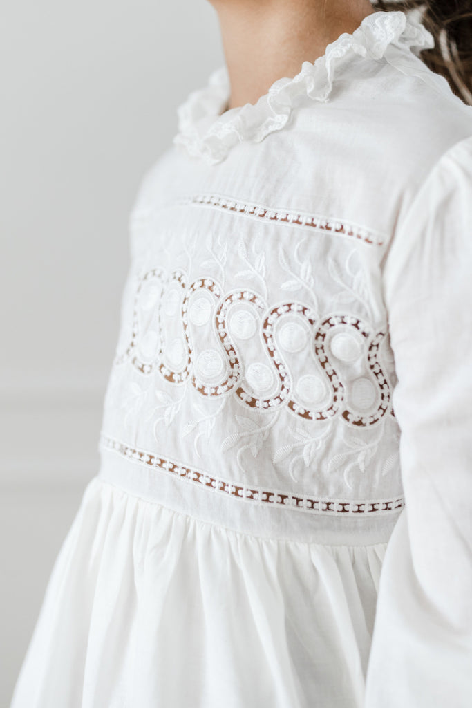 White Embroidered Babydoll Dress - Petite Belle