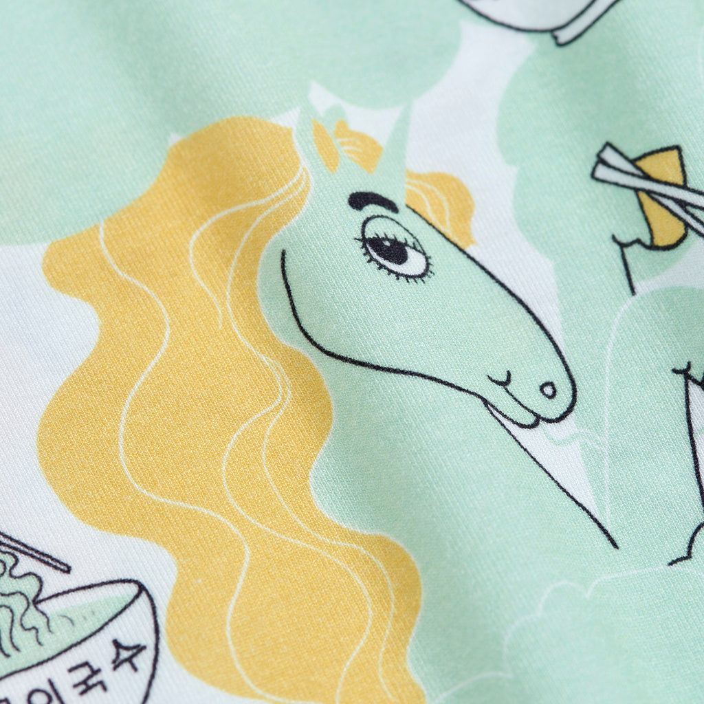 Green Unicorn Noodles Tee by Mini Rodini - Petite Belle