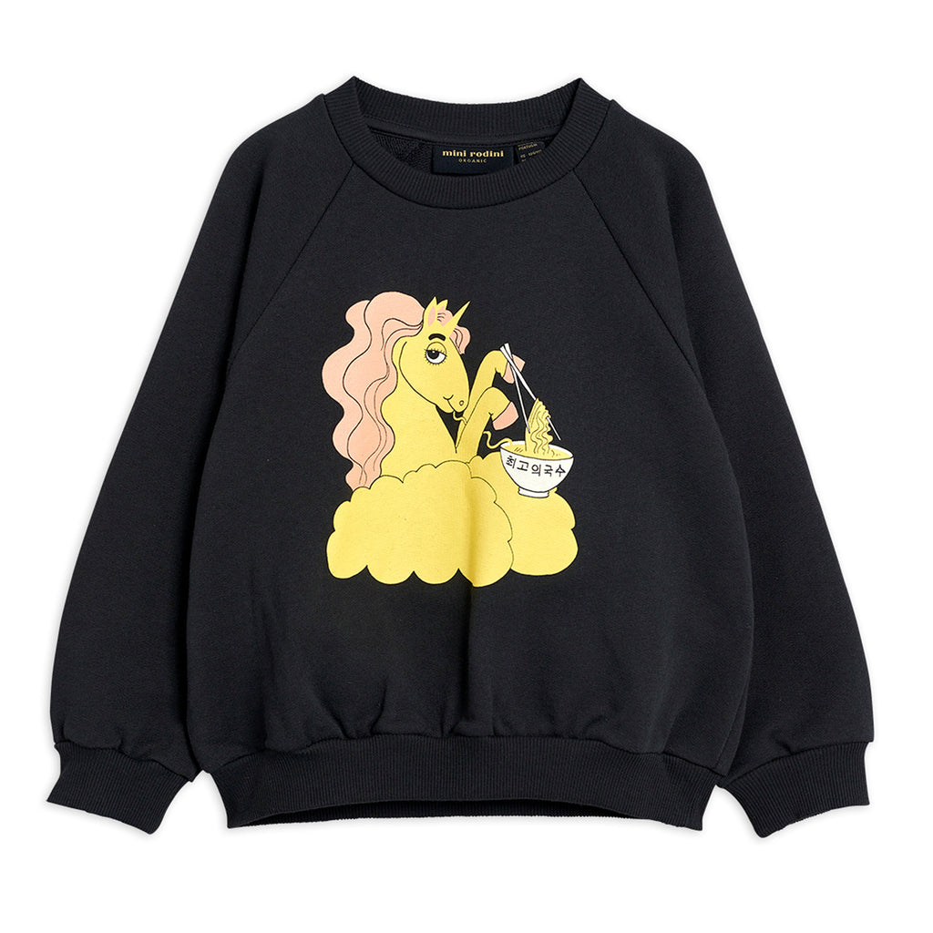 Black Unicorn Noodles Sweatshirt by Mini Rodini - Petite Belle