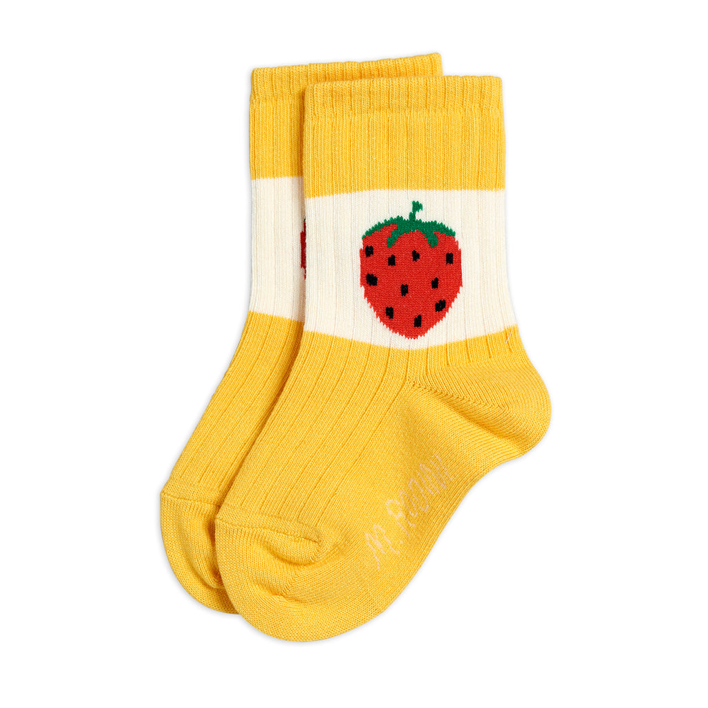Yellow Strawberry Ribbed Socks by Mini Rodini - Petite Belle