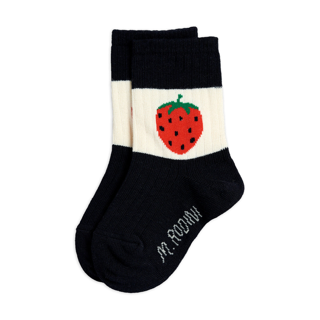 Black Strawberry Ribbed Socks by Mini Rodini - Petite Belle