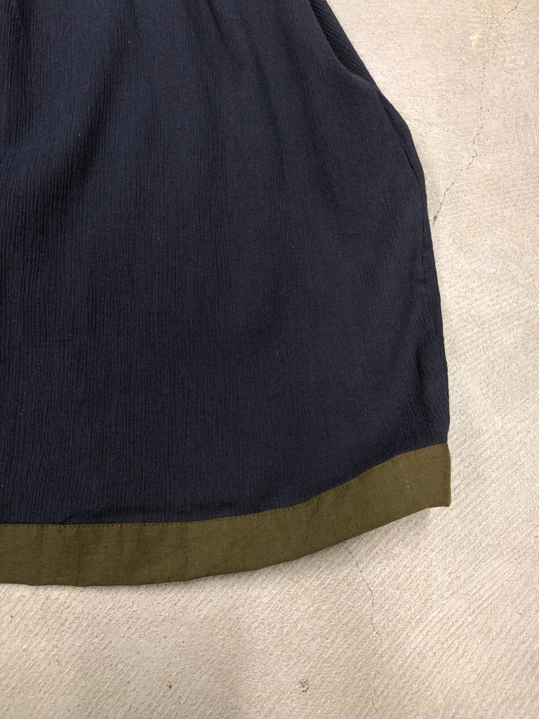 Navy Smock Dress with Contrast Trim - Petite Belle