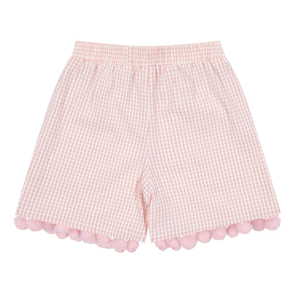 Pink Gingham Shorts with Pompom - Petite Belle