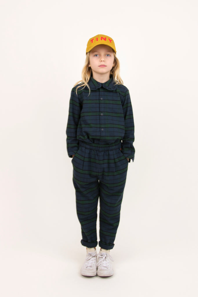 Check Pleated Pants (Dark Green) by Tinycottons - Petite Belle