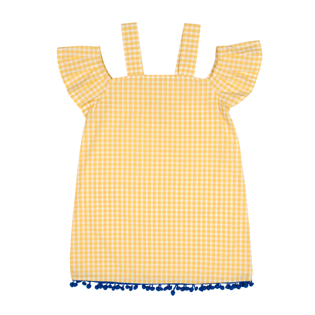 Yellow Gingham Off Shoulder Dress with Pompom - Petite Belle