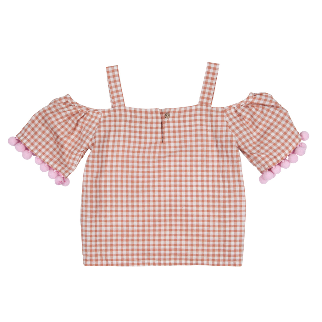 Pink Gingham Off Shoulder Top with Pompom - Petite Belle