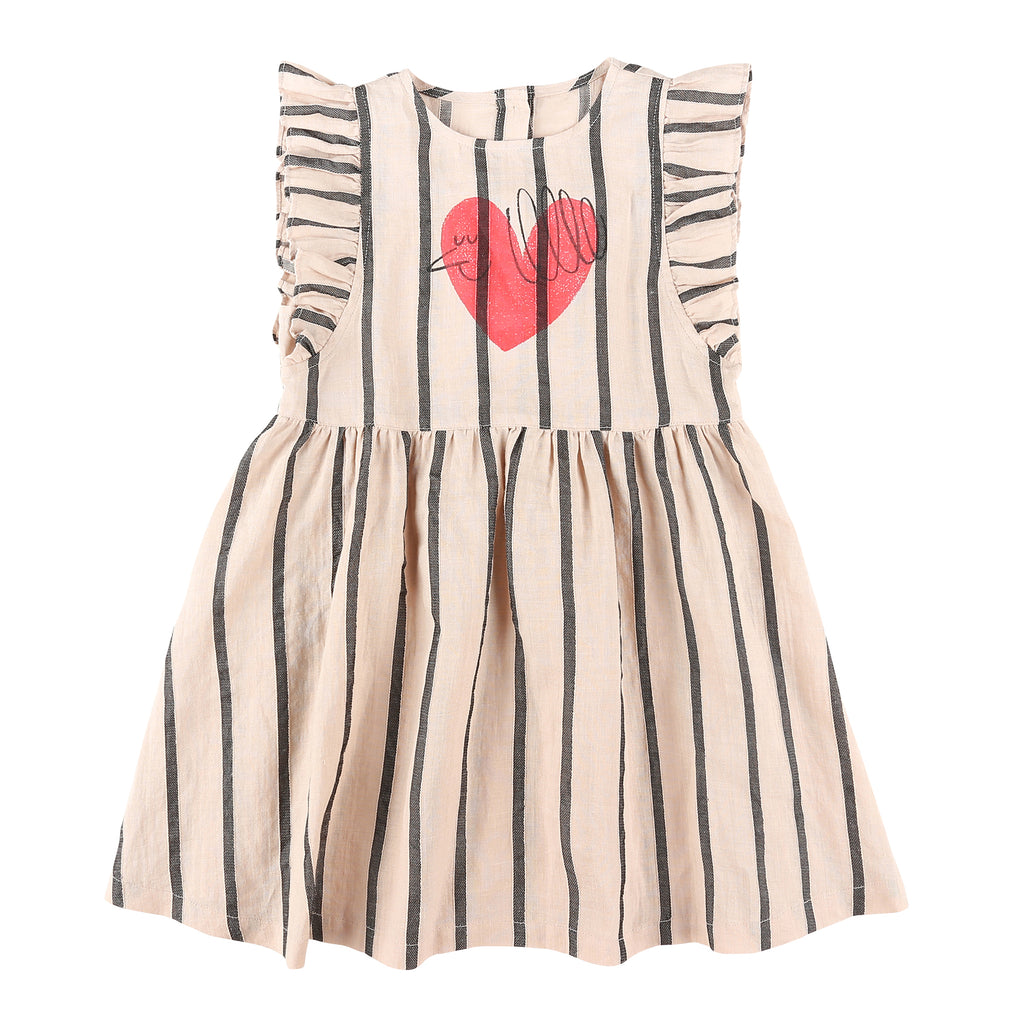 Heart Bird Linen Dress - Petite Belle