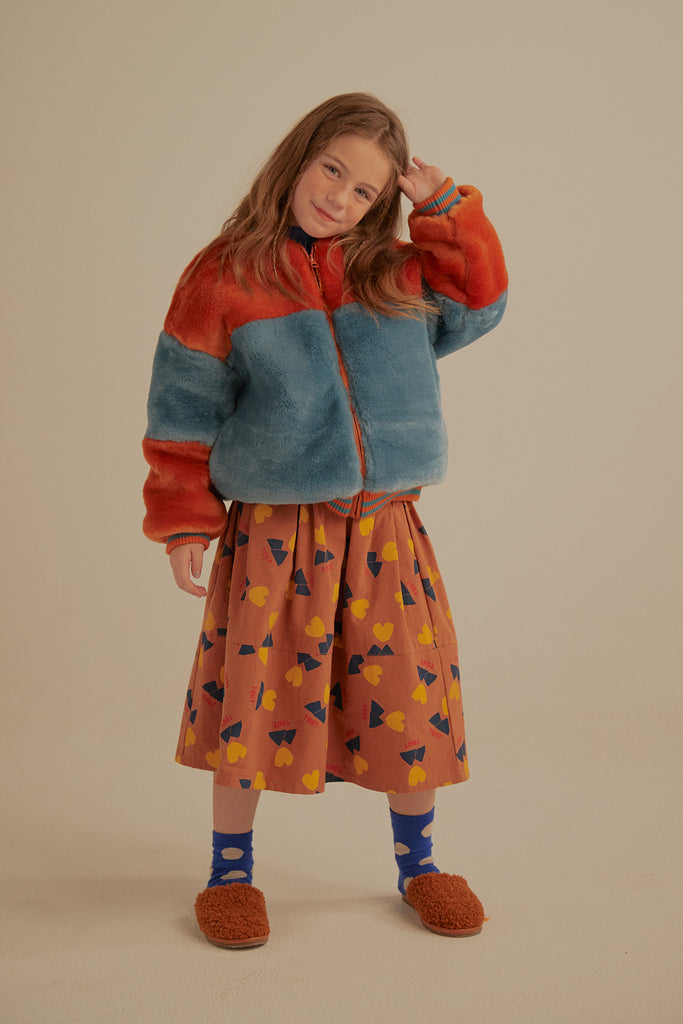 Brick & Blue Fur Jacket by Jelly Mallow - Petite Belle