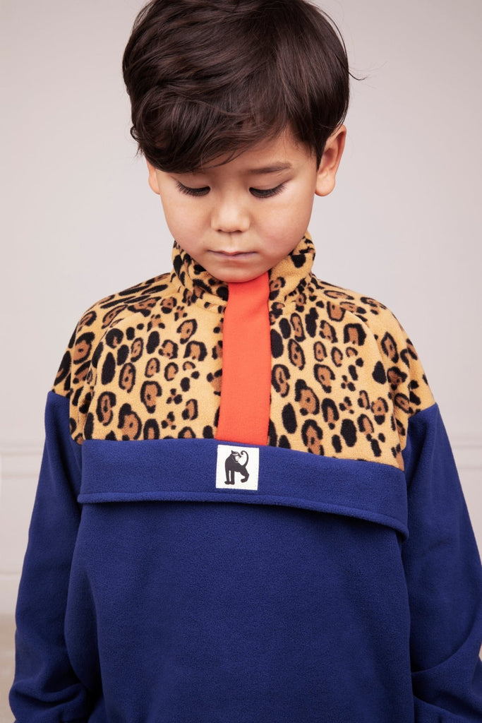 Leopard Fleece Zip Pullover by Mini Rodini - Petite Belle