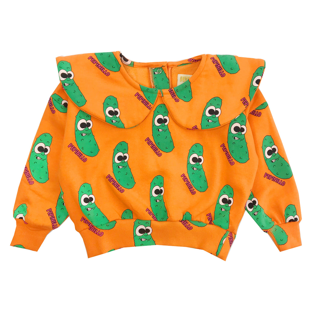 Orange Pickles Collar Sweatshirt by Hugo Loves Tiki - Petite Belle