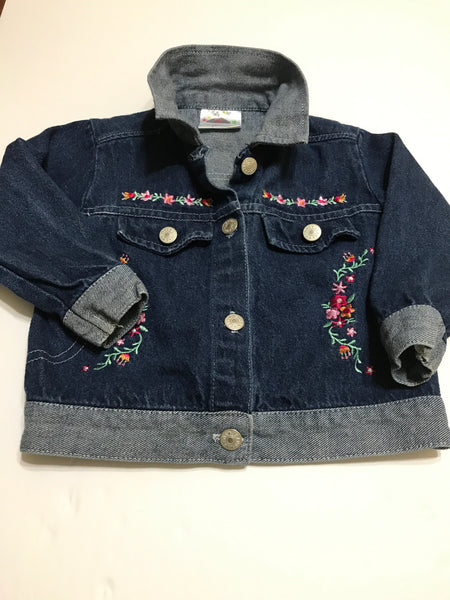 Two Toned Blue Cotton Denim Jacket with Flower Applique