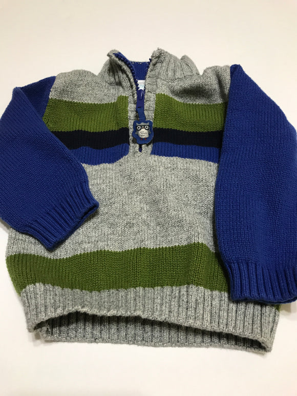 Size: 12-18 months - Gymboree Grey and Stripe Knit Sweater with Owl Appliqué Zipper
