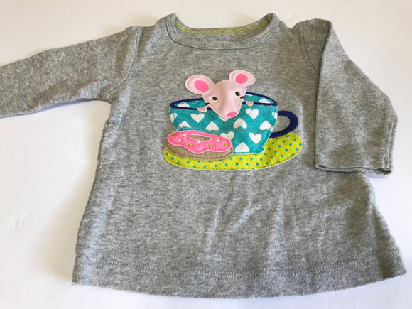 Size: 3 months - Grey, long sleeved cotton shirt with mouse and teacup