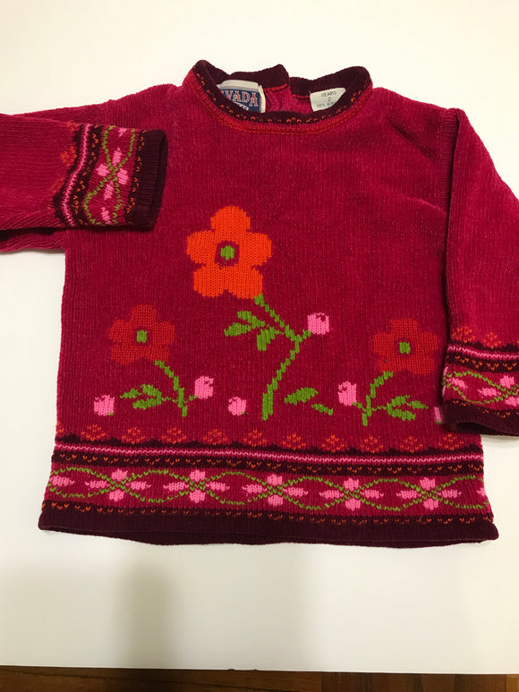 Size: 2T - Girls Magenta Color Flowered Acrylic Sweater