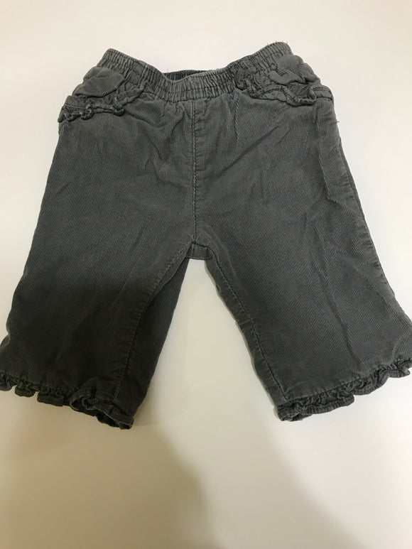 Size: 3-6 months - Girls Grey Corduroy Frill Trim Pant