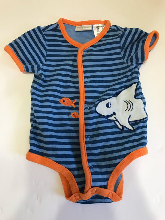 Two Tone Blue Shark and Fish Onesie