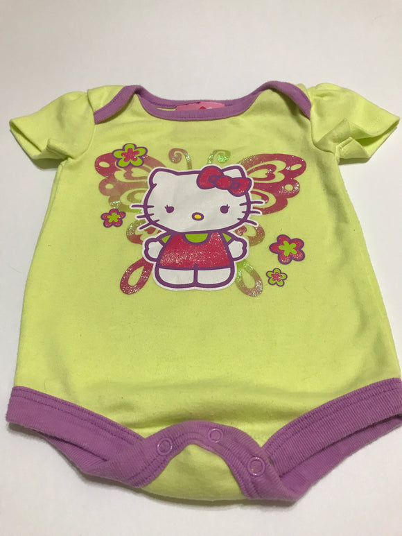 Size: 0-3 months - Lime Green and Sparkly Butterfly Hello Kitty Onesie