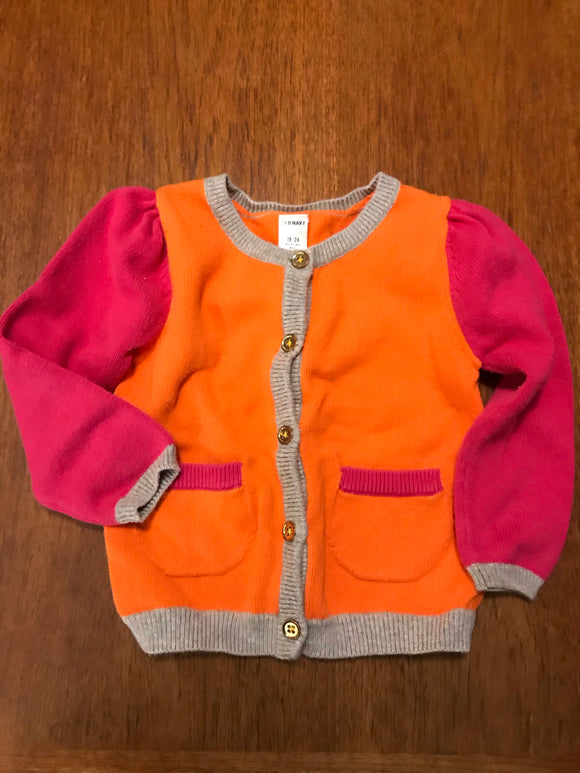 Size: 18-24 months - Grey, Orange and Pink Tri-Colored Long Sleeved Sweater