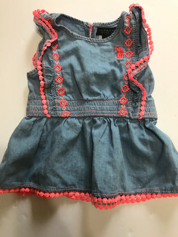 Size: 18 months - Denim and Bright Pink US Polo Assn. Dress