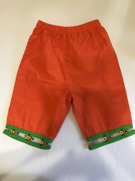 Size: 24 months - Bright Orange Pant with Green Trim, White Mesh and Flowers