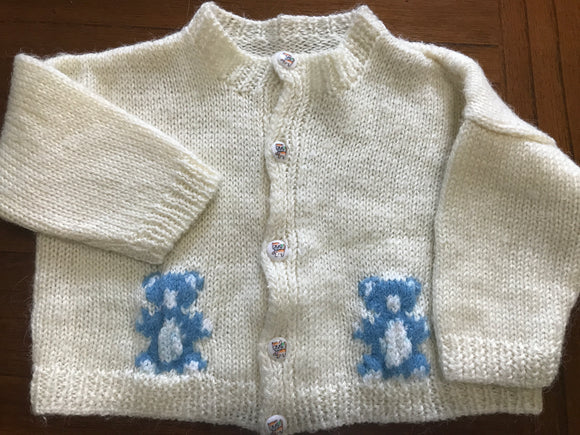 Size: 12-18 months - Handmade Cream Colored Knit Cardigan with Blue Teddy Bears