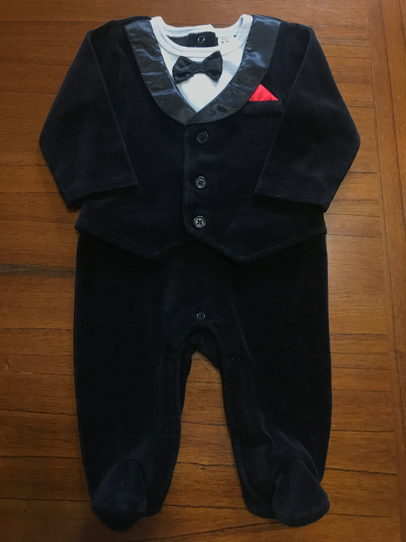 Size: 0-3 months - One Piece Crushed Velvet Tuxedo from George