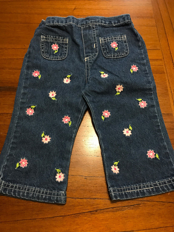 Size: 2 - Dark Denim Jeans with Two-Toned Pink Flowers