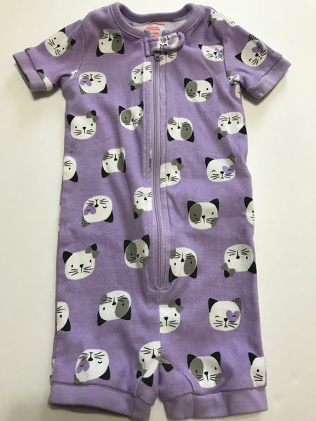 Size: 6-12 months - Thick Cotton Purple Tabby Kitty Romper / Onesie from Joe Fresh