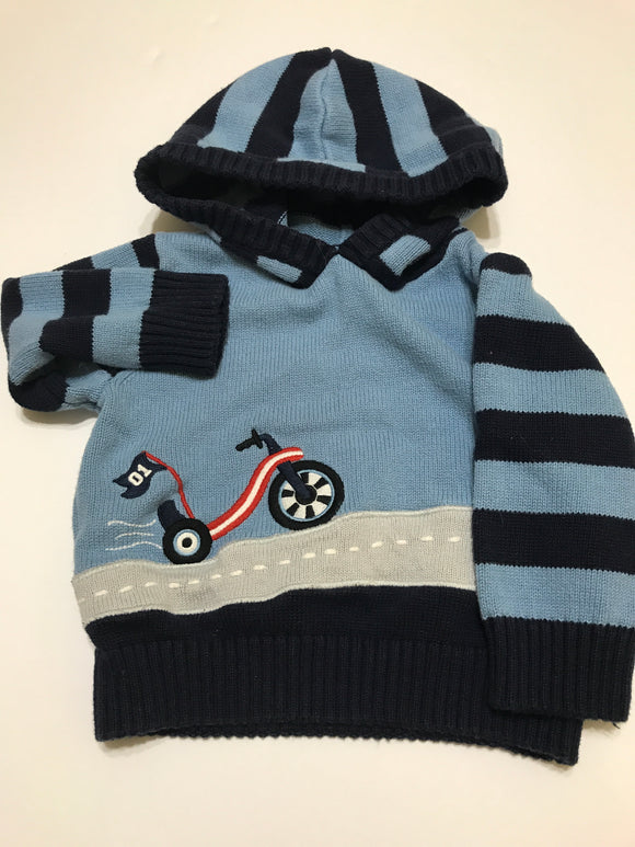 Size: 12-18 months - Blue on Blue Tricycle Appliqué Hooded Sweater