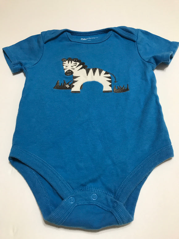 Size: 24 months - Cute Bright Blue Fisher Price Zebra Applique Onesie