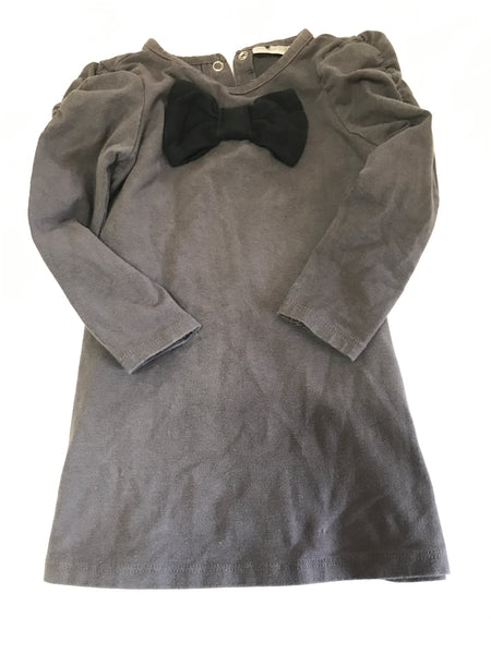 Size: 24 months - Dark Grey Maggie and Zoe Long Sleeved Shirt with Black Bow
