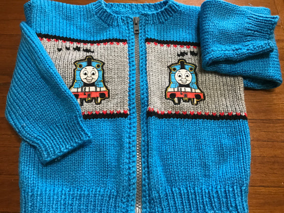 Size: 2 - Bright Blue Thomas the Train Zip Up Knit Sweater