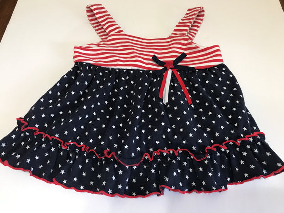 Size: 6-9 months - Stars and Stripes Frilly Bottom Dress