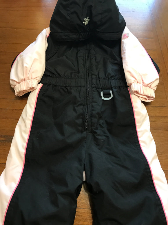 Size: 6-12 months - Black and Pink One Piece Snowsuit from Old Navy