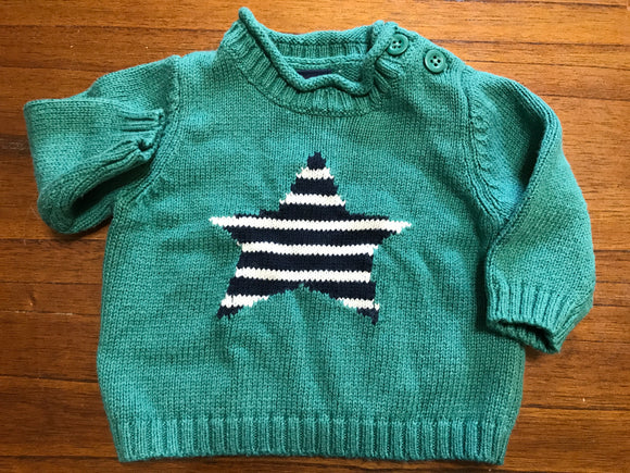 Size: 0-3 months - Green Baby Gap Knit Sweater with Striped Star