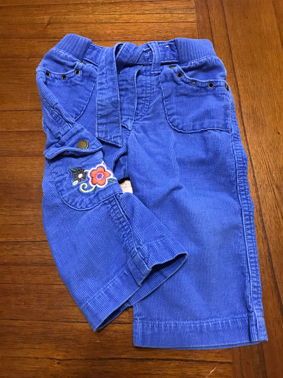 Size: 12 months - Royal Blue Corduroy Pants with Bright Flower Applique from The Children's Place
