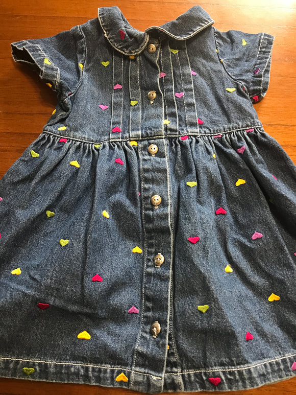 Size: 3T - Dark Denim Scattered Heart Patterned Dress from Carter's